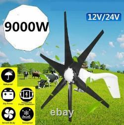 9000w 12v Blanc 6 Lame Éolienne Turbines Générateur De Vent Horizontal Maison Moulin À Vent