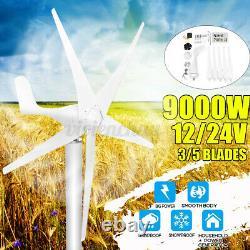 9000w Générateur De Turbine Éolienne 5 Lames Contrôleur De Charge Moulin À Vent Puissance Dc24v