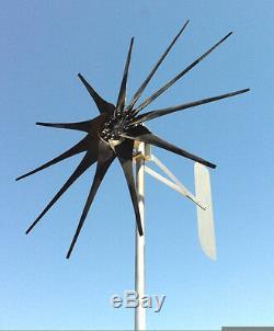 Éolienne 1250 Watt / 11 Lames Black 48 Volts DC 2 Fils Pmg / Pma