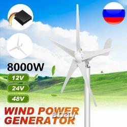Générateur D'éoliennes De 8000w 12/24/48v 5 Lames Adaptées À La Maison Ou Au Camping N
