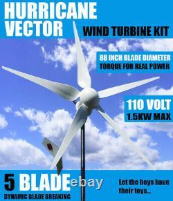 Hurricane Vector 110 Volt Wind Turbine Generator Kit 2500 Watt 1000 Continu