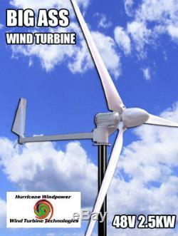 L'ouragan Cul Rond Éolienne Générateur Kit 2.5 Kw 2500 Watts 48v Réel De Sortie