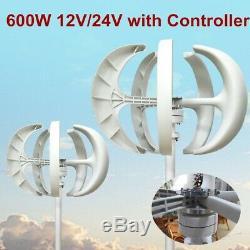 Max 600w 12v 24v Vawt 5 Lames Verticales Éolienne Générateur + Nouveau Contrôleur