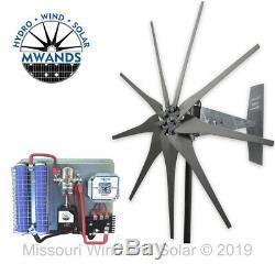 Missouri Freedom 12 Volt 1600 Watt 9 Lame Éolienne Générateur Kit Gris