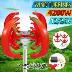 Us 4200w 12/24v 4 Blade Lantern Wind Turbines Generator Vertical Axis Windmill
